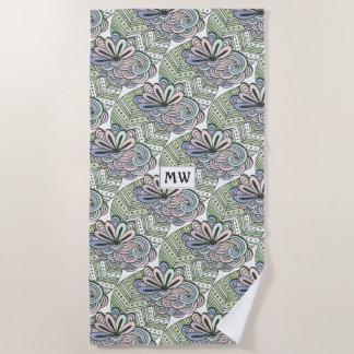 Abstract Flower Pattern custom monogram towel