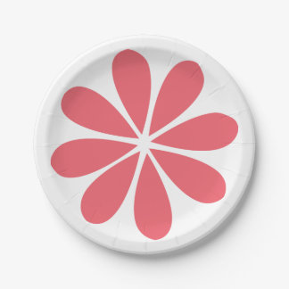 Abstract Flower Pink & White Floral Retro Wedding Paper Plate