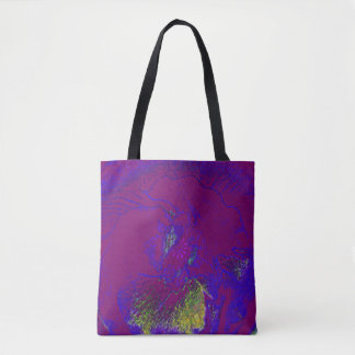 Abstract flower print in blue purple green crayon tote bag