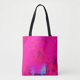 Abstract flower print in pink blue purple crayon tote bag
