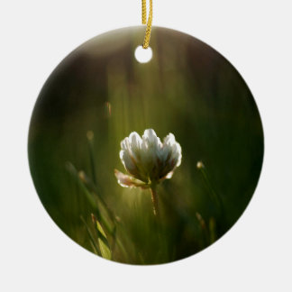 Abstract Flower Rush Of Light Round Ceramic Ornament