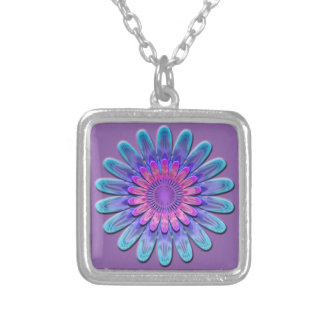 Abstract flower. silver plated necklace