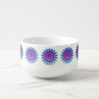 Abstract flower. soup bowl with handle