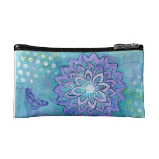 Abstract Flower Wristlet, Blue Clutch