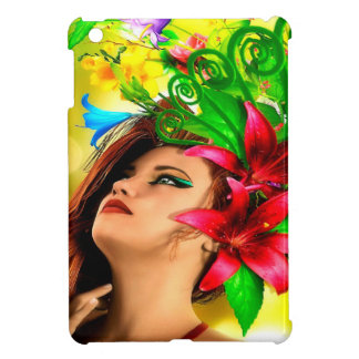 Abstract Flowers and Girl Case For The iPad Mini