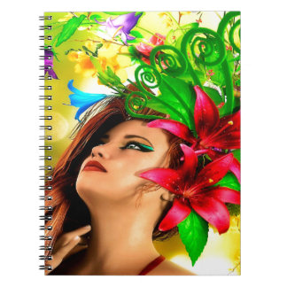 Abstract Flowers and Girl Note Books