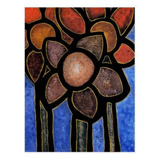 Abstract Flowers Blue Orange Black Postcard