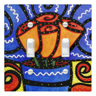 Abstract Flowers Bright Colors Light Switch Cover