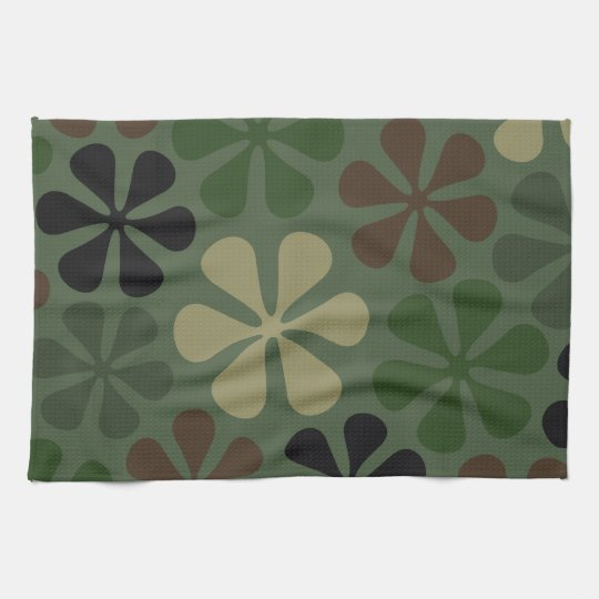 Abstract Flowers Camouflage Kitchen Towel