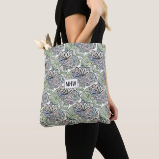 Abstract Flowers custom monogram bags