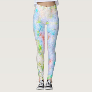 Abstract Flowers Drawing With Pastel Colors Leggings
