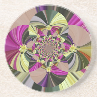 Abstract Flowers Floral Pattern Coaster