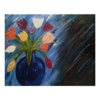 Abstract Flowers In Vase Poster