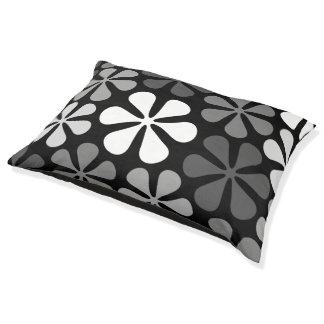 Abstract Flowers Monochrome Pet Bed