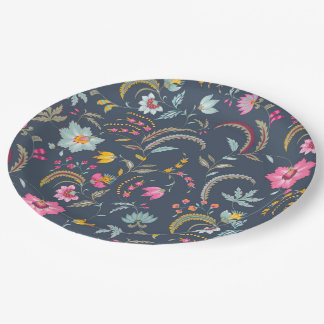 Abstract flowers paper plate