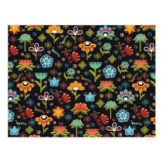 Abstract flowers pattern postcard