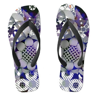 Abstract Flowers Pen Damask Ink Art Flip Flops