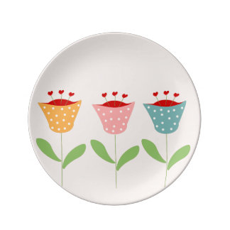 abstract flowers plate