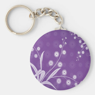 Abstract Flowers Purple Pattern Basic Round Button Keychain