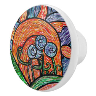 Abstract Flowers & Sun Bright Colors Ceramic Knob