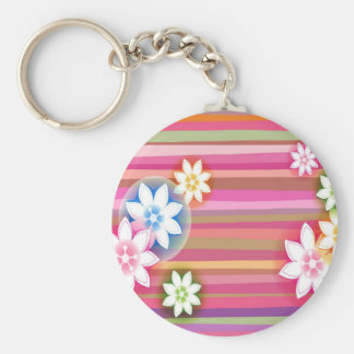Abstract Flowers Warm Colors Pink Stripes Basic Round Button Keychain