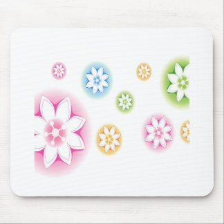 Abstract Flowers White Abstract Mouse Pad