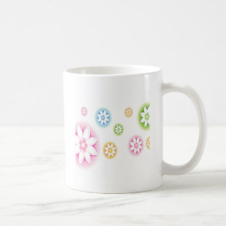 Abstract Flowers White Abstract Coffee Mugs