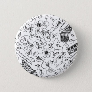 Abstract Flowery Indonesian Textile 2 Inch Round Button