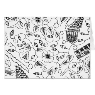 Abstract Flowery Indonesian Textile Card
