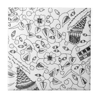 Abstract Flowery Indonesian Textile Ceramic Tiles