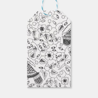 Abstract Flowery Indonesian Textile Gift Tags