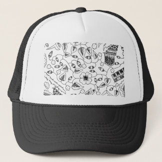 Abstract Flowery Indonesian Textile Trucker Hat