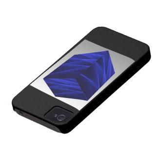 Abstract flux BLUE crimson 3d cube iPhone 4 Case