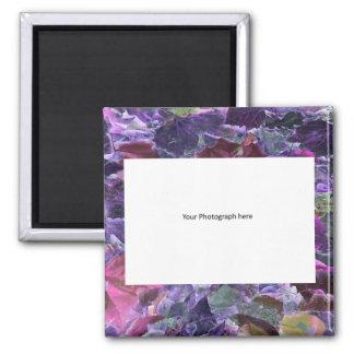 Abstract Foliage Purple Leaf Pattern Custom Photo Magnet