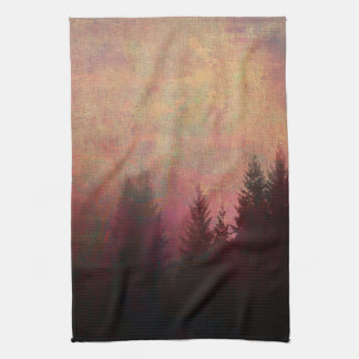Abstract Forest Landscape Art Grunge Sky Colors Hand Towel