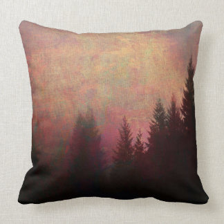 Abstract Forest Landscape Art Grunge Sky Colors Throw Pillow