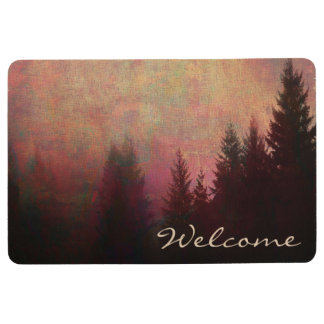 Abstract Forest Landscape Art Grunge Sky Welcome Floor Mat