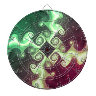 Abstract Fractal Cross Art Dartboard