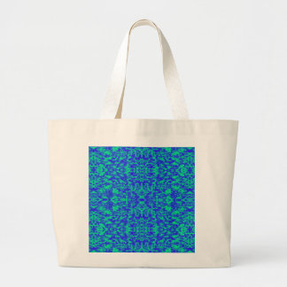 Abstract Fractal In Blue And Green Large Tote Bag