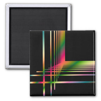 Abstract Fractal Lines and Crosses 2 Inch Square Magnet