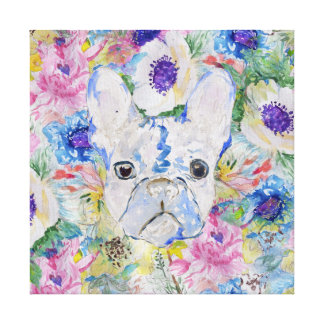 Abstract French bulldog floral watercolor paint Canvas Print
