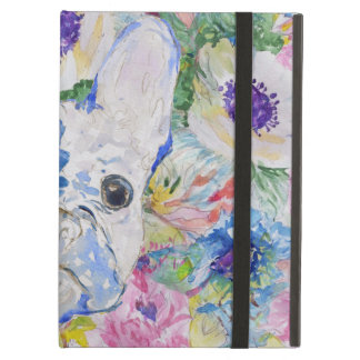 Abstract French bulldog floral watercolor paint iPad Air Cover