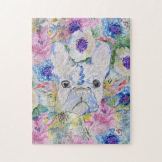 Abstract French bulldog floral watercolor paint Jigsaw Puzzle