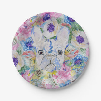 Abstract French bulldog floral watercolor paint Paper Plate