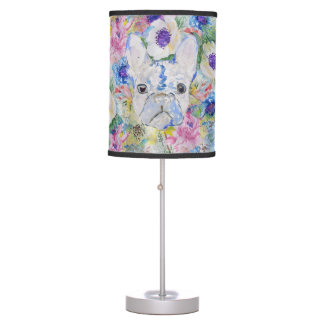 Abstract French bulldog floral watercolor paint Table Lamp
