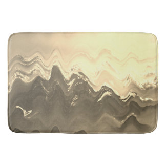 Abstract French cream and coffee brown bath mat