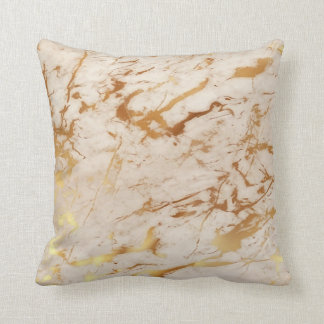 Abstract Fresh Creamy Gold Marble Luxury Pastel Throw Pillow