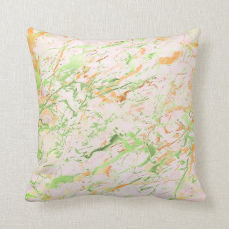Abstract Fresh Mint Pink Gold Marble Luxury Pastel Throw Pillow