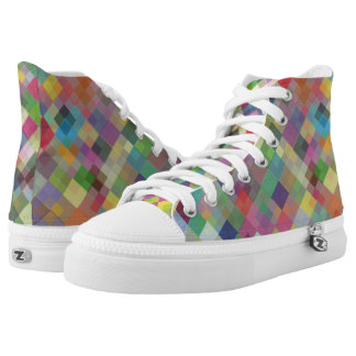 Abstract Fun Colourful Squares High Top Shoes