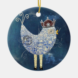 Abstract Funky Bird Collage Ornament